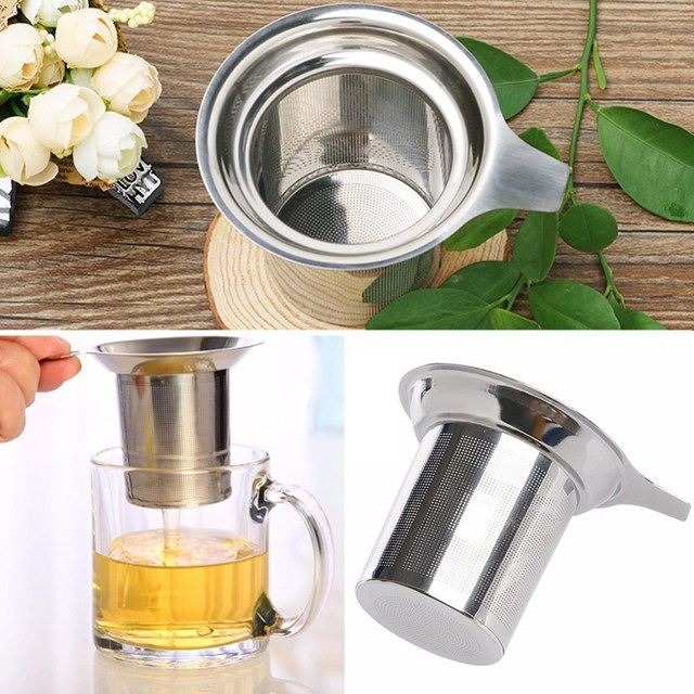 Trà Lưới Infuser Tái Sử Dụng Trà Lọc Trà Bằng Thép Không Gỉ Loose Tea Leaf Gia Vị Lọc Drinkware Phụ Kiện Nhà Bếp