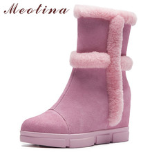 Купить с кэшбэком Meotina Women Boots Real Fur Snow Boots Cow Suede Height Increasing Mid-calf Boots Warm Wool Zipper Shoes Female Winter Size 40