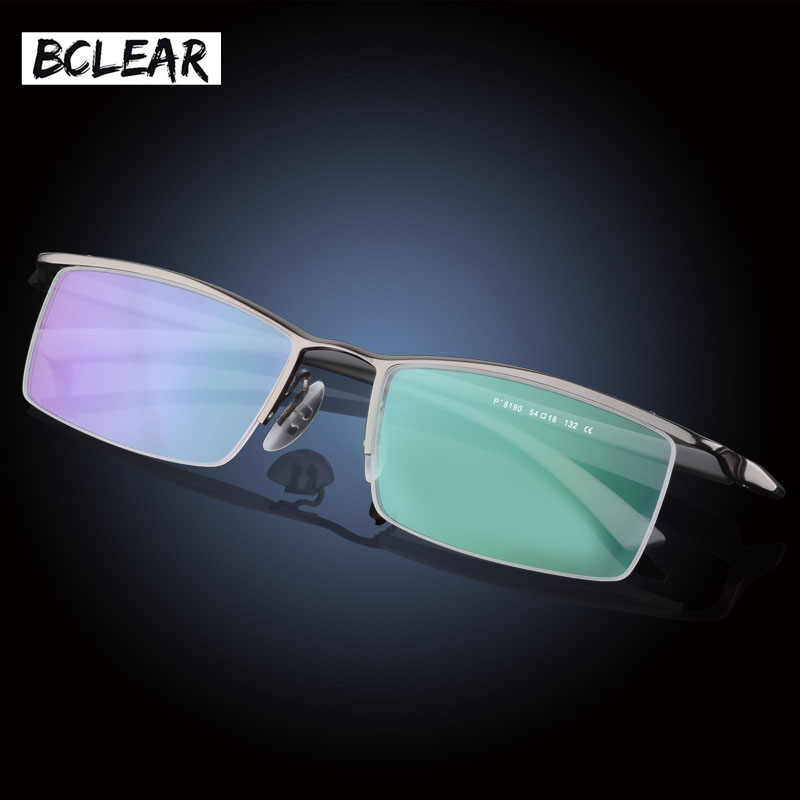 13bb9be05e72 BCLEAR Classic Brand High Quality Fashion Men Half-frame Optical Frame  Titanium Alloy Half Rim