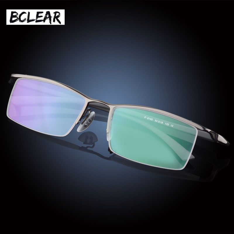 BCLEAR Classic Brand High Quality Fashion Men Half-frame Optical Frame Titanium Alloy Half Rim Eyeglasses Frames Big Small Faces