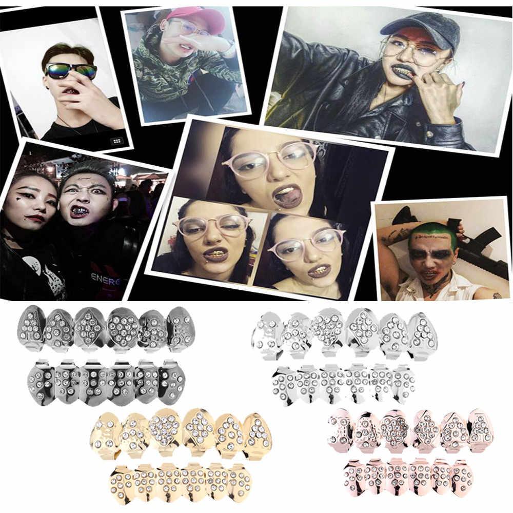1 комплект позолоченные хип-хоп ЗУБЫ Grillz верхние и нижние грили зубы грили модные полностью алмазные металлические хип-хоп подтяжки Прямая поставка