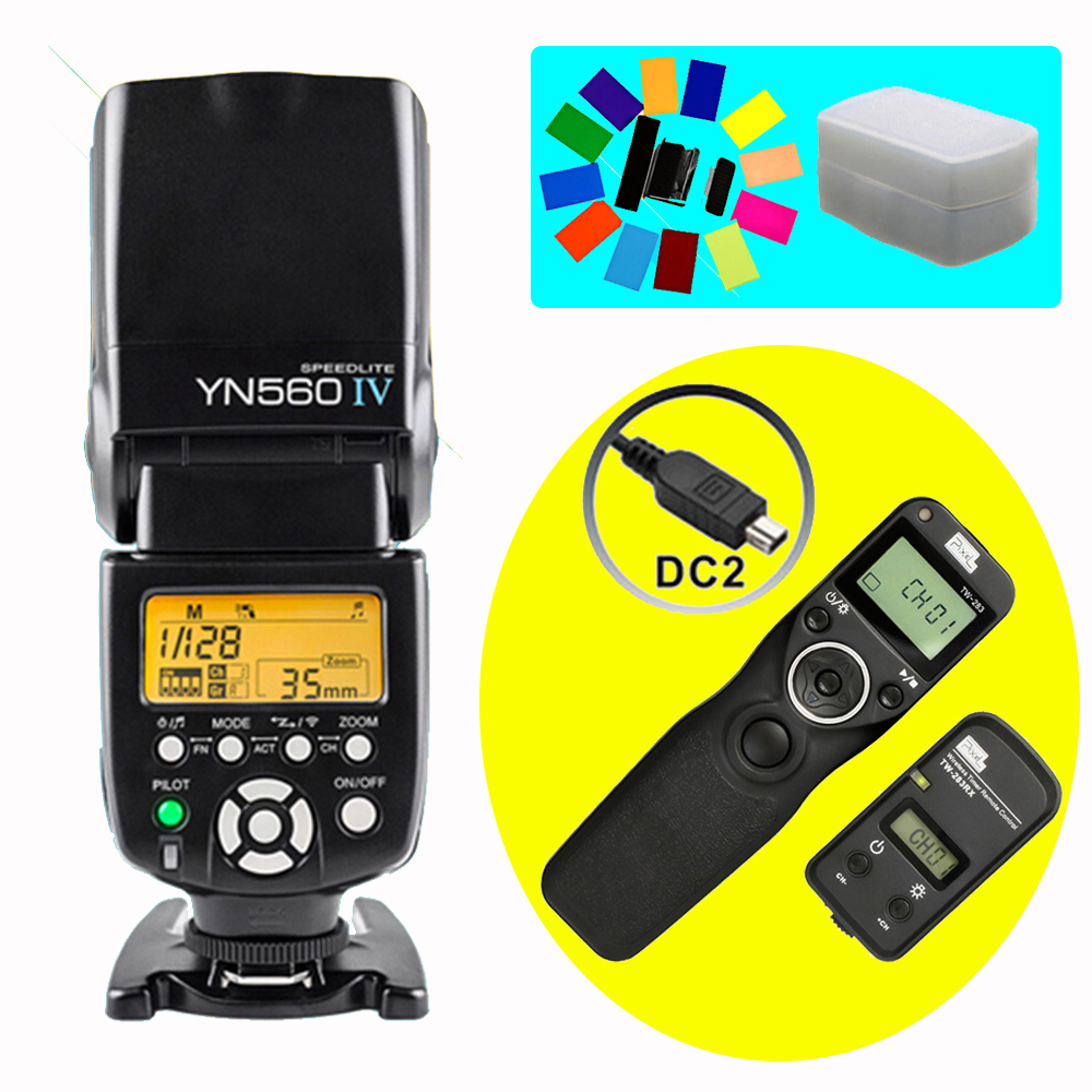 YONGNUO YN560 IV YN-560 IV Wireless Flash Speedlite & Pixel TW-283 DC2 Timer Remote Control For Nikon D5000 D3300 D3200 D600 D90