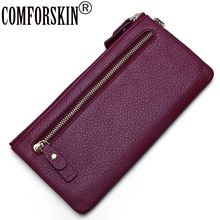 COMFORSKIN Long Style Women Zipper Purse Hot Brand Woman Wallet With Hand Rope Guaranteed Genuine Leather Clutch Wallets