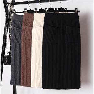 GIGOGOU Knitted Skirt Stretch-Band Ribbed Split Warm Elegant Midi High-Waist Winter Women