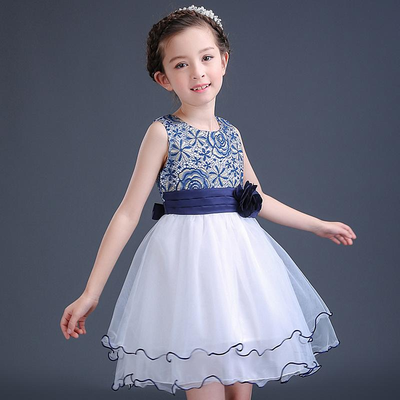 High Quality Summer Girls Dresses Flower Elegant Children's Clothing for Wedding Party 2017 New Princess Teens Kids Dress high quality vestidos children clothing new girls red wedding dress summer party dresses for kids costume flower chiffon clothes