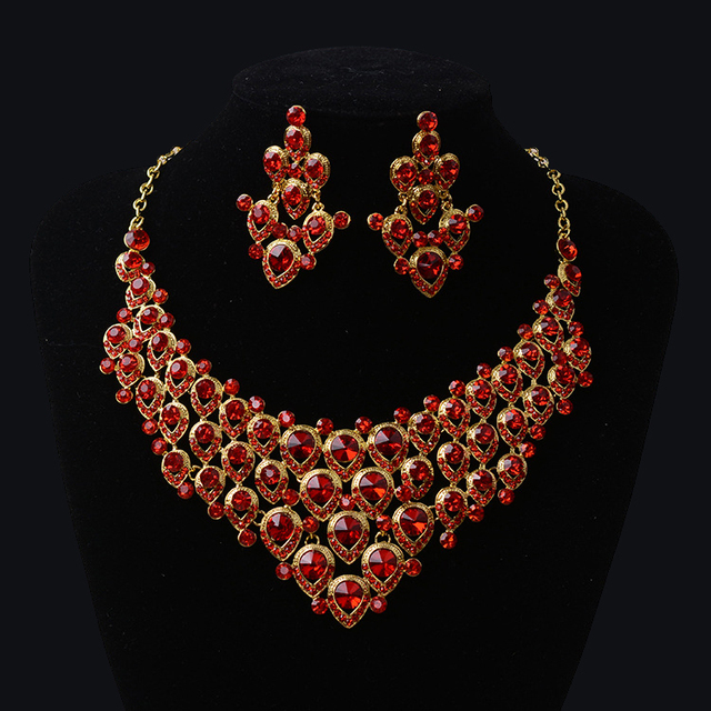 2016 New Magnificent Rhinestone Bridal Jewelry Sets Charming Red Crystal Necklace set for Bride Wedding hair Accessories