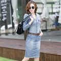 2016 новый повседневные платья high street джинсы женские джинсовые платья с длинным рукавом женщины лето ремень мода sexy Новый платья плюс размер