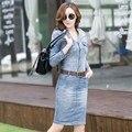 2016 nueva casual dress high street jeans denim dress correa de la manera del verano mujeres de manga larga sexy Novedad vestidos plus tamaño