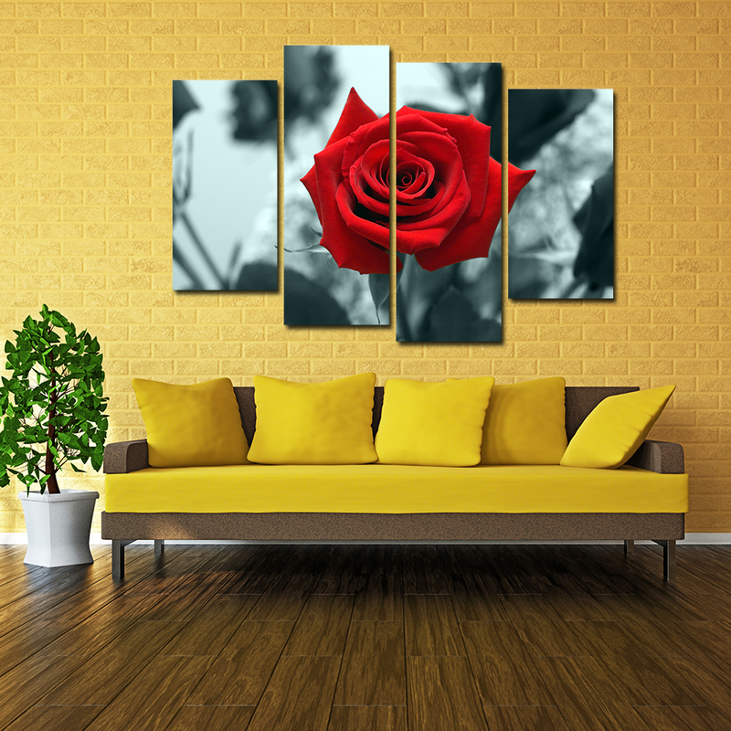 4 Pieces Canvas Wall Art, Beautiful Flower Wall Decor,Rose Painting ...