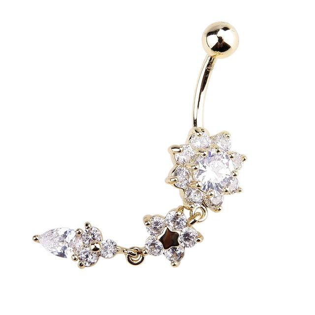 Yeni moda seksi Piercing göbek tırnak göbek takısı çiçek kolye kristal Belly Button yüzük kadınlar kızlar için #77463
