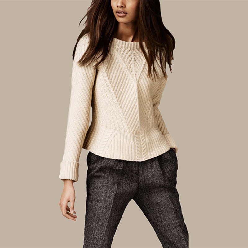 Ruffled hem 100 cashmere warm pullovers O neck long sleeve fitting solid color font b sweater