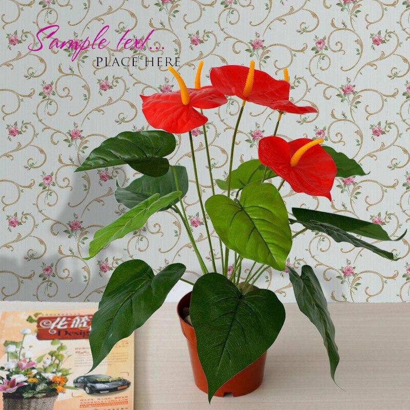 perennes semillas de flores de seda artificial decorativa de interior flores anthurium falsos plantas de maceta