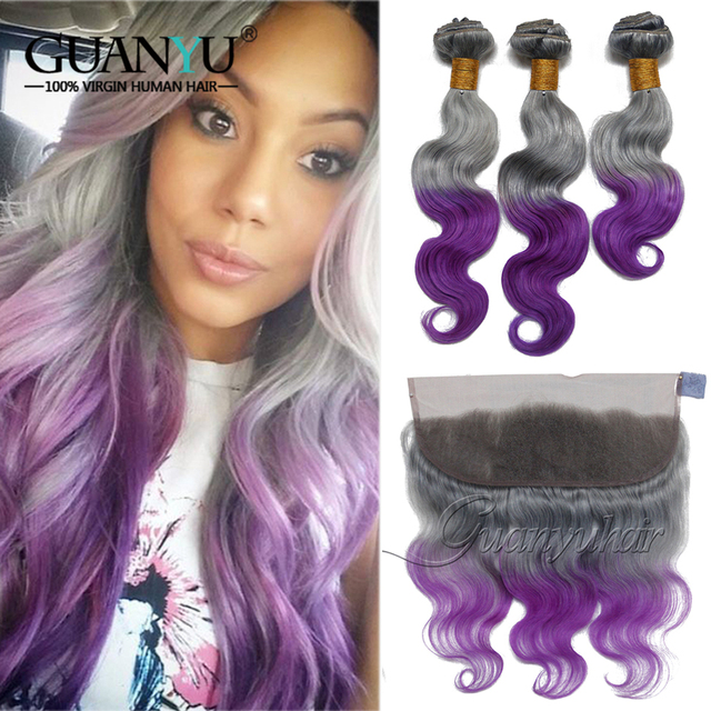 Guanyuhair Ombre Brazilian Hair Weave Bundles 3 Pcs With 13X4 Lace Frontal Closure Ear to Ear Remy Hair Extension Grey/Purple