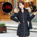 Envío libre más el tamaño de invierno ropa de abrigo chaqueta de algodón acolchado medio-largo wadded cuello de piel grande engrosamiento