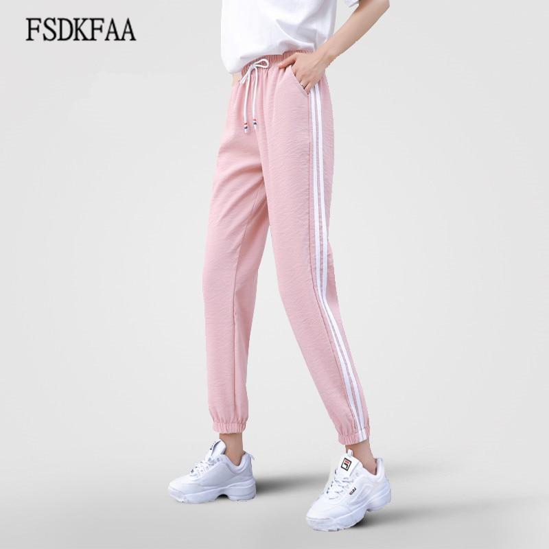Spring Joggers Women Sweatpants Wide Leg Pants Women Casual Harem Pants Loose Trousers For Women White Striped Side Sweat Pants