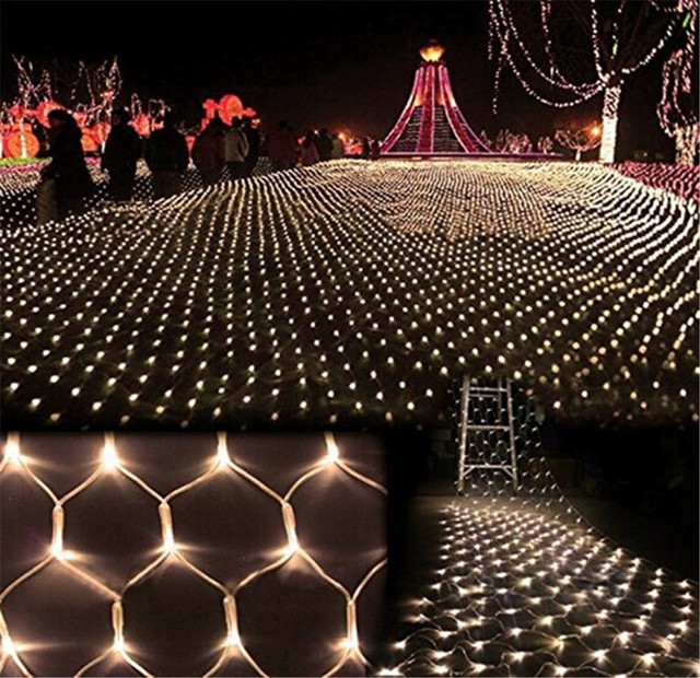 Kmashi 4Mx6M 672 Leds EU220V LED Fishing Net Mesh Fairy String Net Lights  Ceiling For Christmas