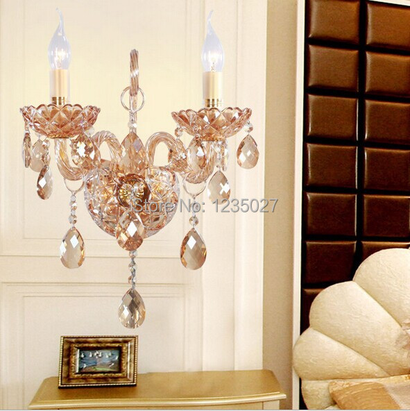 2 lights a lamp black crystal wall lamp candle E14 Crystal wall light 2 bulbs Champagne crystal wall lighting e14 black crystal wall lamp light black silk fabric lampshade crystal wall lighting creatie crystal wall lamp study lamp