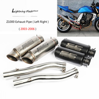 For 2003 2006 Kawasaki Z1000 Exhaust Pipe Slip On Motorcycle Left Right Side Exhaust Stainless Steel 51 mm Mid Tail Escape Pipe