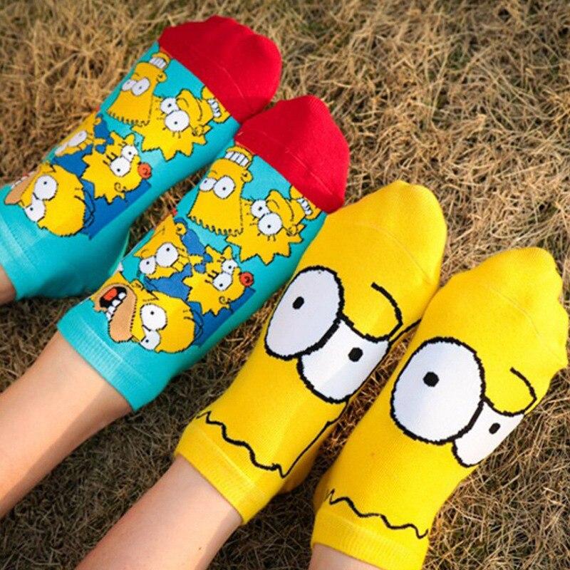 Women's Socks Cotton Simpson Cartoon Funny Cute Short Socks Harajuku Female Casual Sock Spring Summer Sox Meias Dropshipping