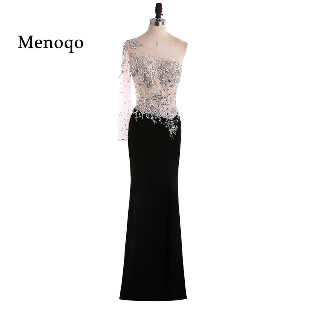 Sexy Black Long Sleeve Prom Dresses  One Shoulder Split Side Crystal avondjurk Chiffon galajurken Formal Evening Party Gowns
