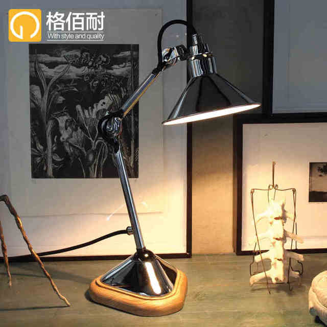 Industrial vintage loft style black silver table lamp fashion industrial vintage loft style black silver table lamp fashion folding bedside light bedroom study table mozeypictures Gallery