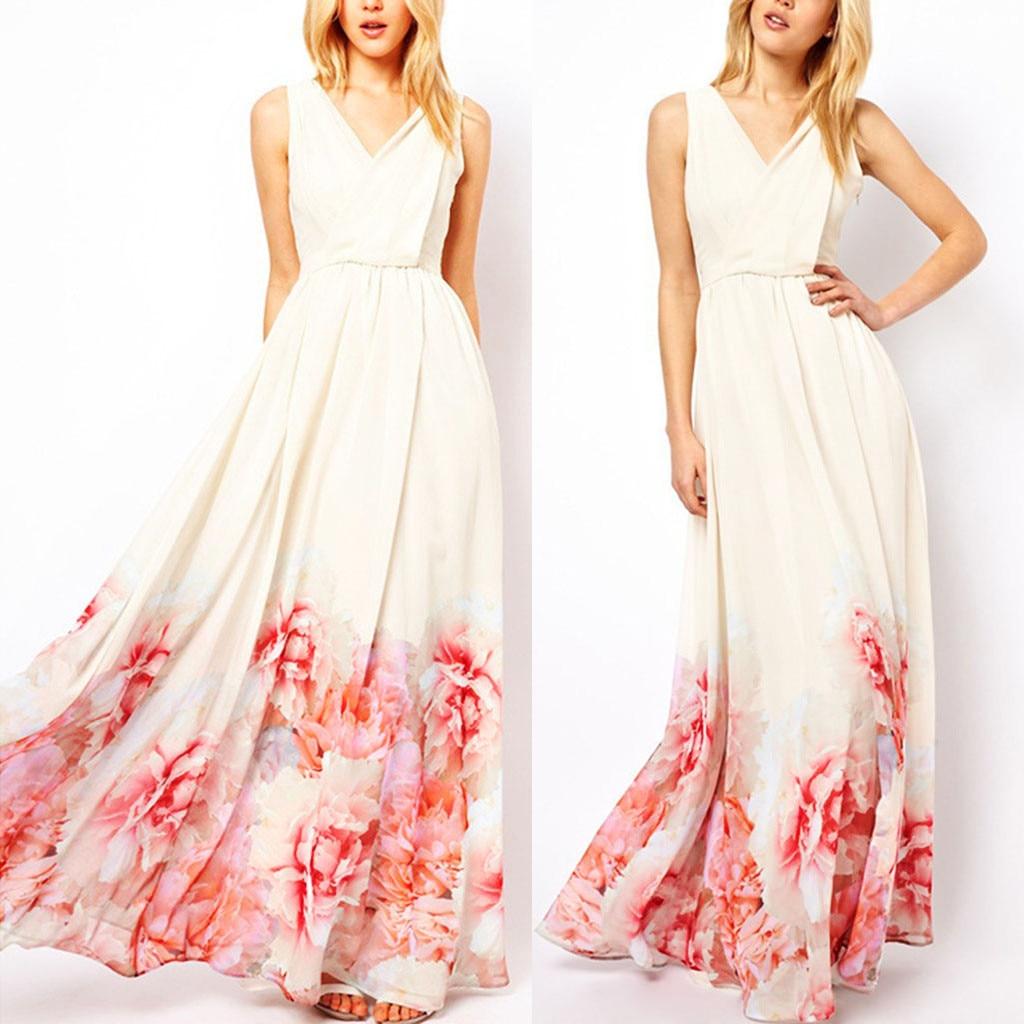 Women's Summer Elegant And Sexy Fashion Cool Sweet Elegant Bohemian Printed V-Collar Long Maxi Dress Beach Dresses Vestidos