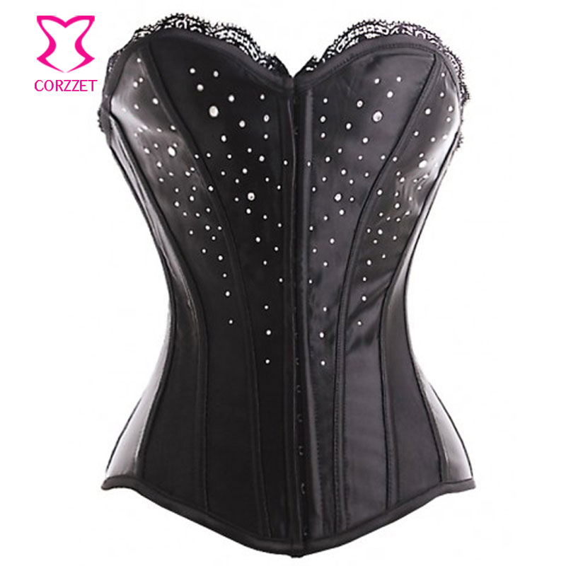 Black Lace Top Satin Stud Rhinestone   Bustier     Corset   Sexy Corselet Overbust Corpetes E Espartilhos Para Festa Gothic Clothing