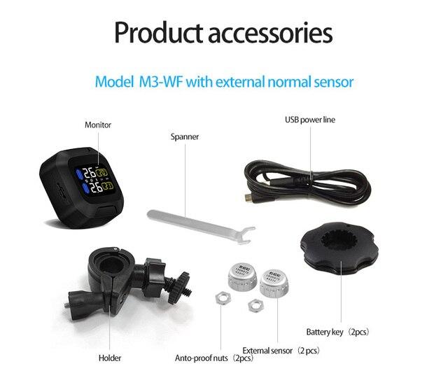 Oryginalny bezprzewodowy System monitorowania ciśnienia w oponach motocyklowych TPMS silnik Aotu Alarm 2 czujnik zewnętrzny Moto Tools