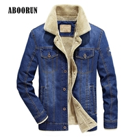 ABOORUN 2017 Men Winter Denim Jacket Thicken Military Tactical Jeans Coats Outwear Male Brand Clothing W4030