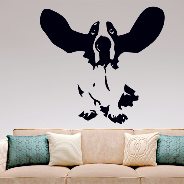 Basset hound wall decal vinyl sticker home decor dogs dog raised ears kitchen bedroom