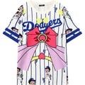 Mulheres de Beisebol Bonito Betty Desgin Kawaii Dos Desenhos Animados T-shirt 2016 Casual T Tops da Mulher Moda Feminina Oversized Listrado Tshirt branco