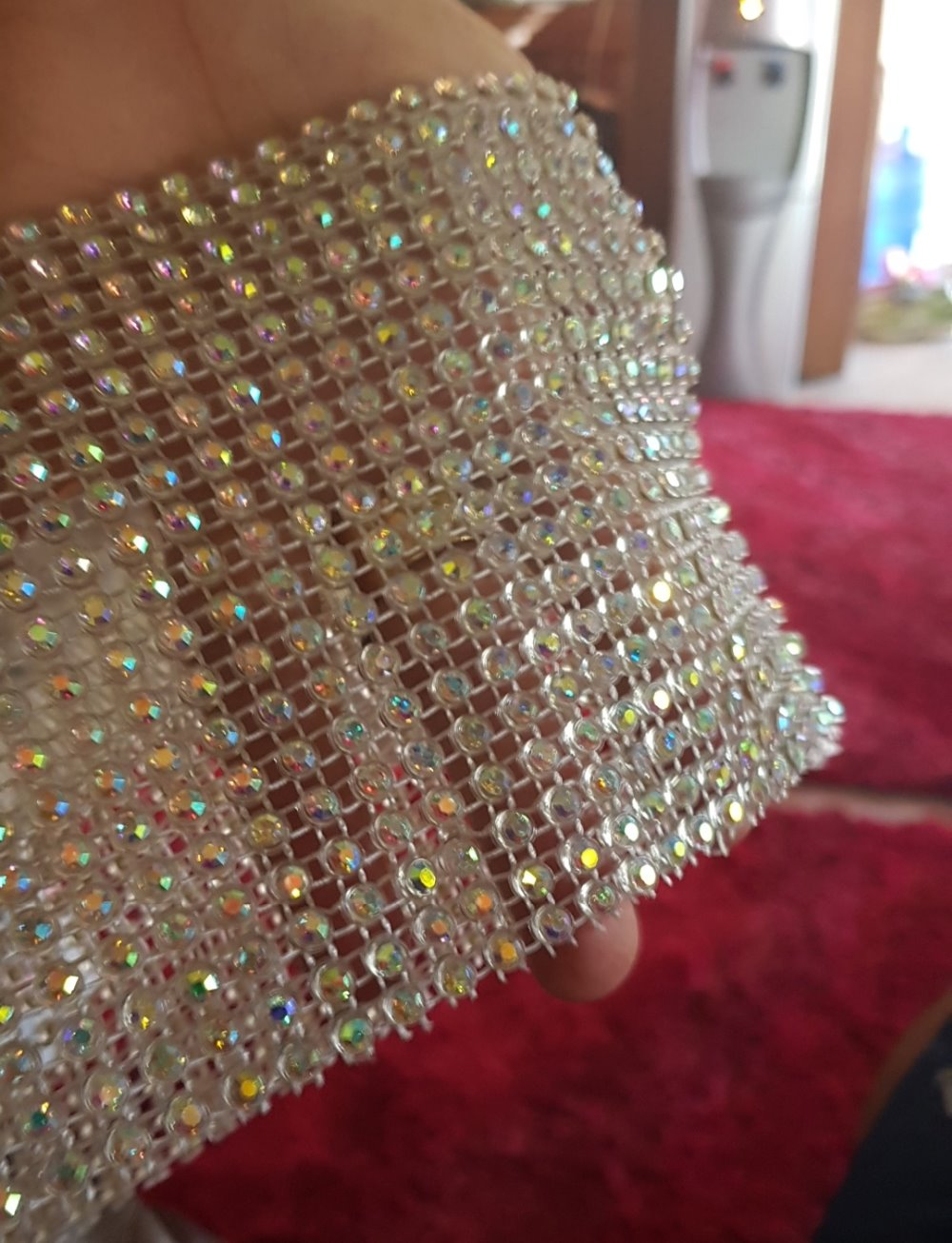10yards 18 rows Elastic Plastic rhinestone mesh trim in Transparent SS16 4mm crystal AB stone banding DIY Costume accessories