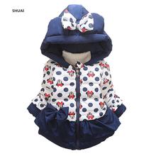 New Minnie Baby Girls Jacket Winter Cartoon Lovely Keeping Warm Children Coat Cotton Novelty Hooded Thick Outwear Kids Clothing