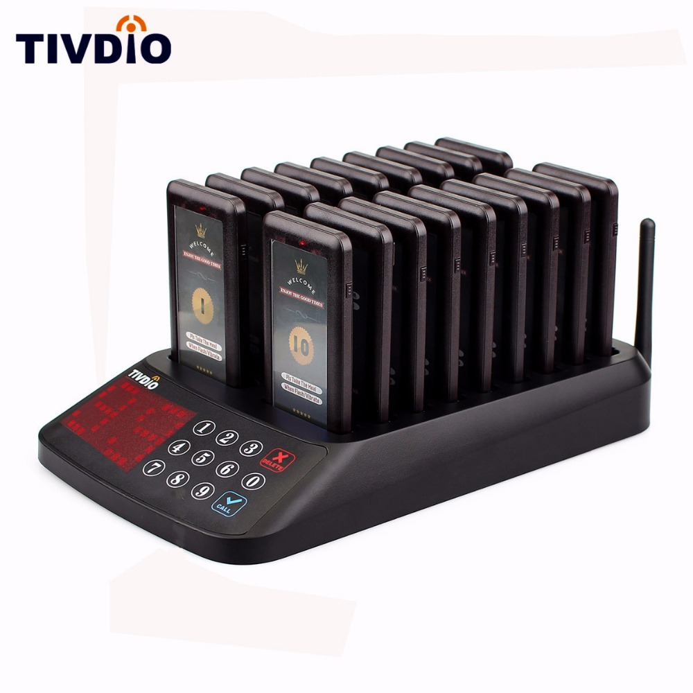 TIVDIO Wireless Paging Queuing System Restaurant 99 Channel 18 Coaster Pager Receiver+1 Keypad Transmitter Guest Calling F9406A guest pager for wireless restaurant paging system 15 buzzer button h3 wy and 1 wireless receiver p 200cd one year warranty time