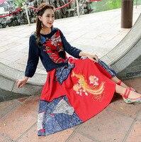 2017 National Wind Long Phoenix Cotton Embroidery Skirts