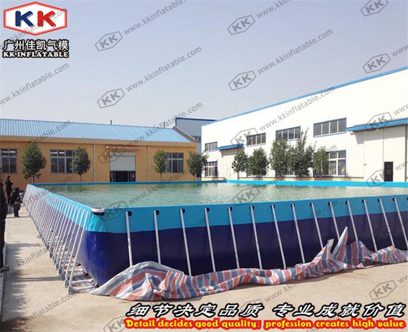 Metal Frame Square Blue Inflatable Swimming Pool, Inflatable Water Pool, Plastic Swimmin ...