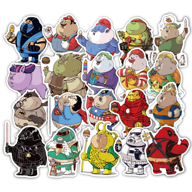 TD ZW 32Pcs/lot Cute Fat Hero Funny Stickers Decal For Car Laptop Bicycle Cellphone Motorcycle Pad Waterproof Toy Sticker