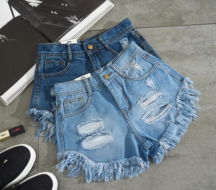 New 2018 Summer Harajuku American BF Mid Waist Wind Female Blue Denim Women Shorts Worn Zipper Loose Burr Hole Jeans Shorts