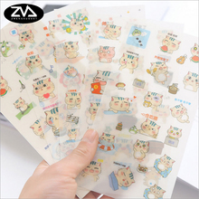 6pcs/lot Kawaii Little Cat PVC sticker decoration diy Cartoon Scrapbooking Stickers album creative stationery