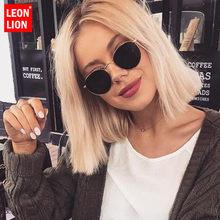 LeonLion-gafas de sol redondas para hombre y mujer, anteojos de sol con montura pequeña clásica, de marca de diseñador, con espejo de aleación, Estilo Vintage, 2021