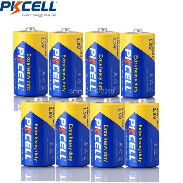 PKCELL 8 Gói Kẽm Carbon Kích Thước Pin C R14P UM2 Batteria Pin