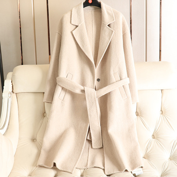 Limited Time Sale New Double-sided Handmade Wool Overcoat Spring 2019 New V-neck Slim Belt Trench Coat For Women Woolen Alpaca