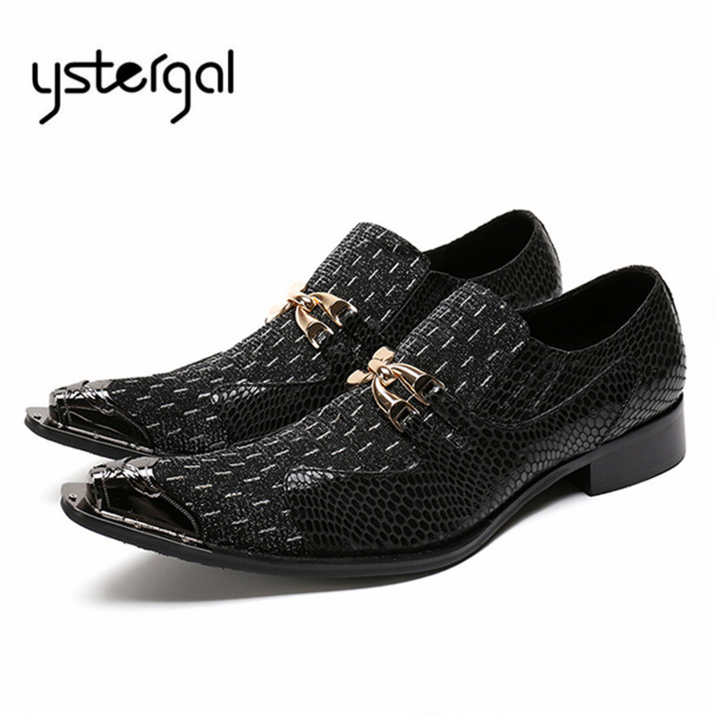 YSTERGAL Metal Decor Men Oxford Shoes Pointed Toe Wedding Dress Shoes Mens Slip On Prom Formal Flats Zapatos Hombre Big Size ystergal gold metal pointed toe men leather shoes lace up mens prom wedding shoe business formal dress flats oxford shoes