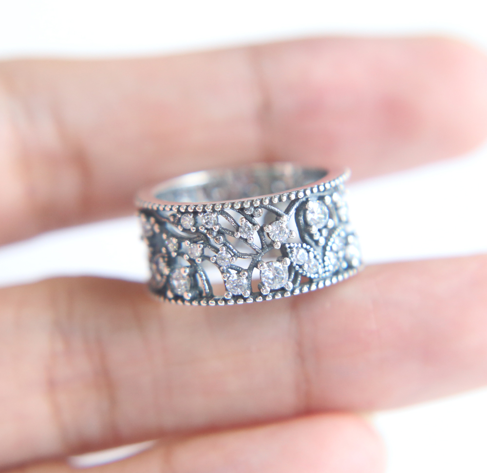 Authentic 925 Sterling Silver Ring Shimmering Leaves Statement With ...
