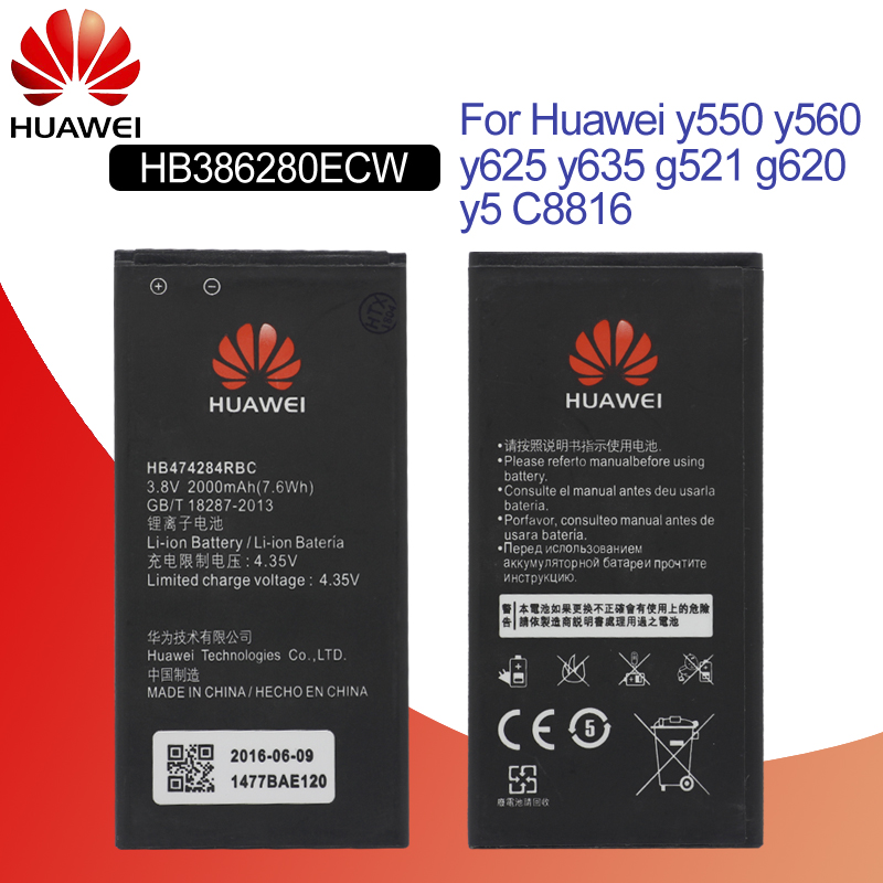 Hua Wei Original Phone Battery HB474284RBC For Huawei Y550 Y560 Y625 Y635 G521 G620 Y5 C8816 Honor 3c Lite 2000mah