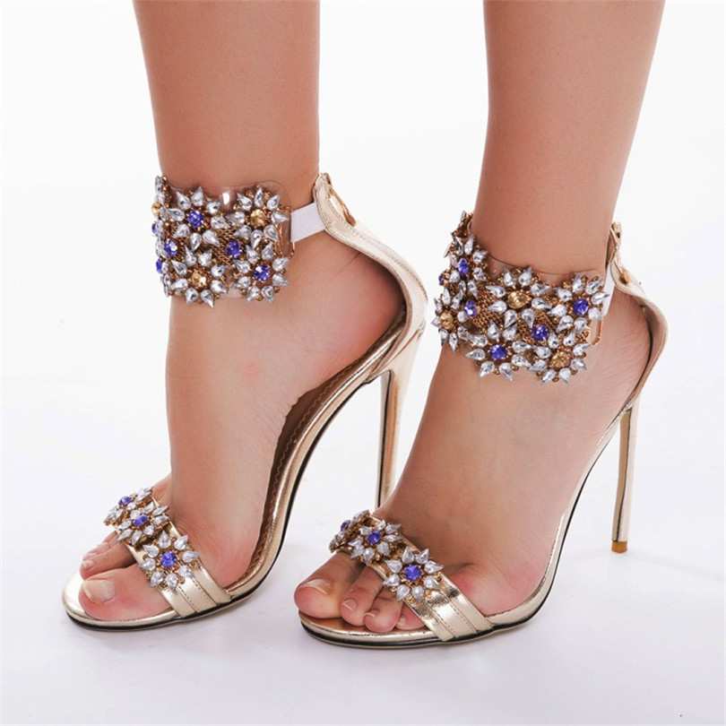 Women Sandals Women Gladiators Back Zippers Crystal Sexy High Heel Flower Zapatos Mujer Sandalias Mujer Shoes
