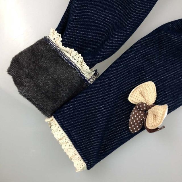 New Brand 2019 Winter Fur Girls Bow Jeans Cotton Children Cashmere Pants Kids Warm Elastic Waist Legging Wholesale And Retail 4