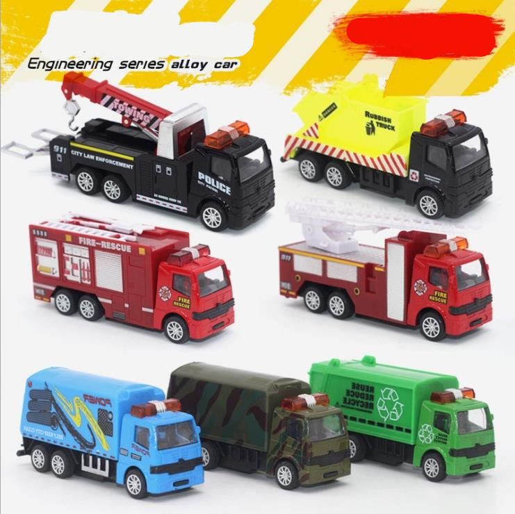 High Simulation Alloy Pull Back Cars Model,1:55 Metal Fire Rescuse Truck,Rubbish Truck,Dump Truck,toy Vehicle,free Shipping