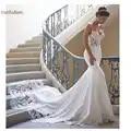 Vestido de novia sirena mangas 2019 Vestidos de novia Vintage de encaje escote corazón vestido de novia espalda descubierta Vestidos de boda