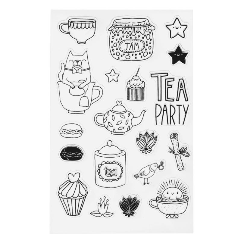 Tea Set Dessert Pattern Silicone Transparent Stamp Clear Stamp for Scrapbooking DIY Craft Album Decorating Paper Card Diary Book lovely bear and star design clear transparent stamp rubber stamp for diy scrapbooking paper card photo album decor rm 037